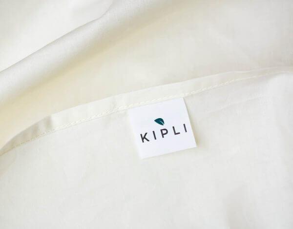 Housse couette coton bio couleur écru naturel avec étiquette Kipli